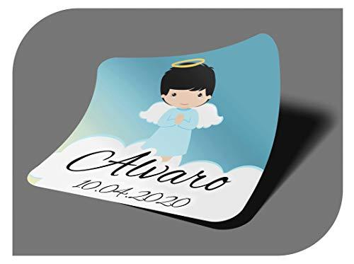 CrisPhy Pegatinas Personalizadas Comunion o Bautizo con Nombre y Fecha, Etiquetas Adhesivas para Invitacion Boda, Compromiso, Cumpleaños, Fiesta, Vintage, Sellos (Modelo 10)