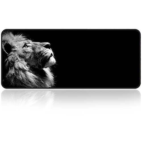 Large Gaming Mouse Pad Lonely-Lion with Edge Stitching Extended XXL Size, Heavy Thick, Foldable Mat for Desktop,Laptop,Keyboard, 31.5'x11.8'x0.15'Desk Pad with High Resolution by Qisan
