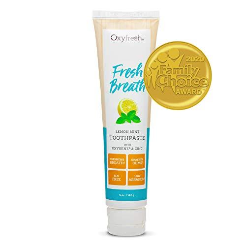 Premium Oxyfresh Maximum Fresh Breath Lemon Mint Toothpaste - Clean Teeth & Fresh Breath - Natural Essential Oils & Natural Xylitol to Help Fight Tartar - SLS & Fluoride Free, 5oz