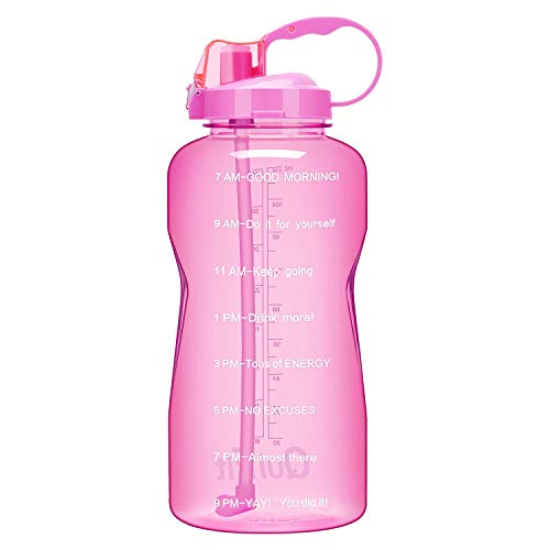 QuiFit 1 Gallon Water Bottle with Straw and Time Marker Leak Proof BPA Free Reusable Large Capacity Fitness Sport Water Jug with Handle(Pink,1 Gallon)