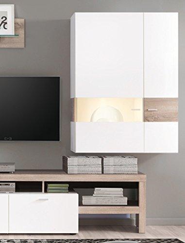 Wohnwand Monty 351x207x47 cm weiß Hochglanz Eiche Trüffel Schrankwand Wohnzimmerschrank Vitrine Wandschrank Wandboard TV-Board LED-Beleuchtung - 4