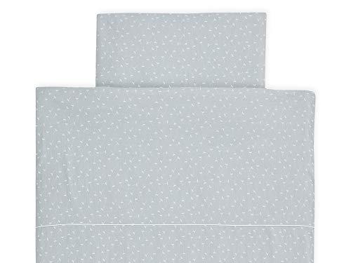 KraftKids Bettwäsche-Set Musselin grau Pusteblumen aus Kopfkissen 80 x 80 cm und Bettdecke 140 x 200 cm, Bettbezug aus Baumwolle, handgearbeitete Bettwäsche gefertigt in der EU