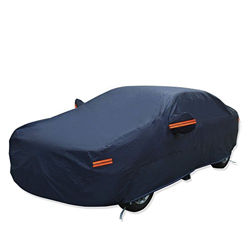 YITAMOTOR All Weather Proof Universal Fit Car Cover Full Breathable UV Rays, Dust, Rain, Waterproof Snow Heat Resistant Outdoor (Fits up to 173 inches, PEVA, Dark Blue)