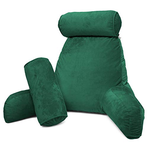 Clara Clark Bed Rest Reading Pillow with Arms and Pockets Premium Shredded Memory Foam, Detachable Neck Roll & Lumbar Support, Large, Hunter Green