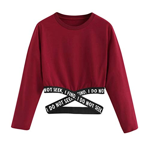 Linkay Damen Bauchfrei Pullover Brief Drucken Casual Langarm Sweatshirt Kurz Sport Crop Tops Oberteile Sweatjacke Shirts Hemd Bluse Bauchfreier Pulli Mädchen (Wein,Small)