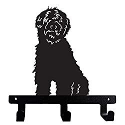 Black metal diecut-cut shaped wall key hook in the shape of a Goldendoodle, photo