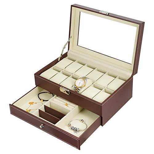 Hossjoy Uhrenbox Schmuckkästchen für 12 Uhren Glas, Braun, Mit Schlüssel