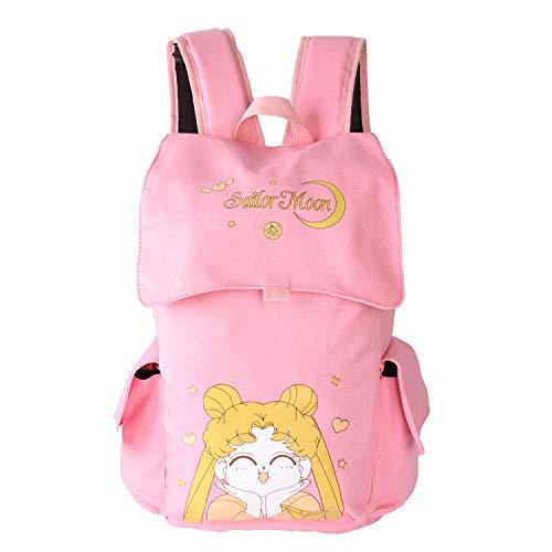 Vanlison Canvas Anime Backpack Rucksack Girls Backpack Bag Satchel School Bag Pink Sailor Moon