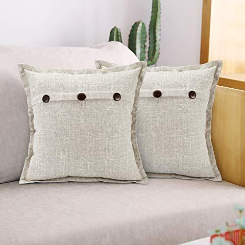 ETOLISHOP Fundas de almohada de lino cuadradas decorativas vintage casa de campo moderna fundas de almohada 45 x 45 cm, color gris