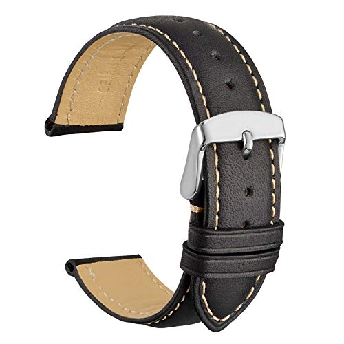 WOCCI 22mm Correa de Reloj de Cuero Vintage con Hebilla Plateada, Banda de Repuesto (Negro)