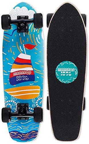 Woodtree Monopatín de Crucero Completo 68.5x20cm ABEC 9 27 Pulgadas Tabla de Skate de Arce, for Adultos, ni?os, ni?os, ni?as y Principiantes,Color:C (Color : A)