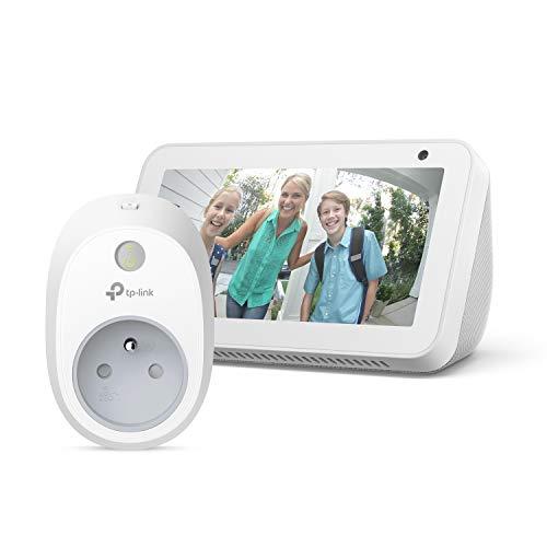 Echo Show 5, Blanc + TP-Link HS100 Prise connectée Wi-Fi, Fonctionne avec Alexa