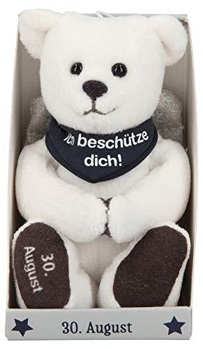 Depesche 8139.243 - Schutzengel Bär aus Plüsch, ca. 9 cm, mit Datum 30. August, Geschenk für Geburtstag, Jahrestag oder Hochzeitstag