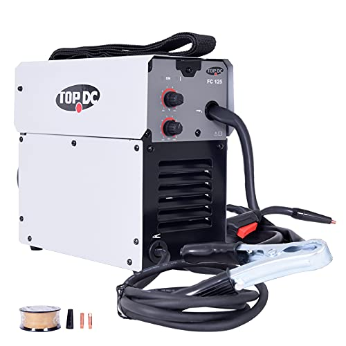 TOPDC Portable Gasless MIG Welder 125A DC 110V/120V Wire Automatic Feed Inverter Welding Machine,Including Flux Cored Wire