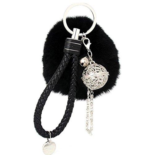 Ularma Elegant Plüsch Ball Schlüsselanhänger Weich Keychain Handtaschenanhänger Dekor (schwarz)