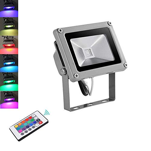 10W RGB LED Strahler, Papasbox Farbig Fluter Außen 4 Modi 16 Farben LED Flutlichtstrahler mit Fernbedienung, IP65 Wasserdicht Bunt LED Flutlicht Scheinwerfer für Garten Party Deko Hof