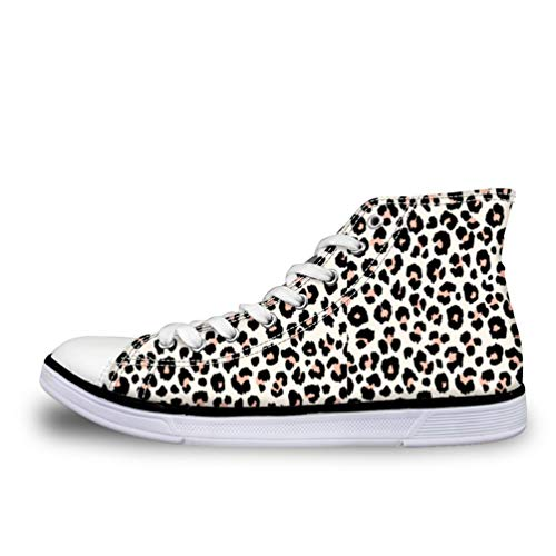Nopersonality Lace Up Canvas Shoes Womens Hi Tops Trainers Fashion Leopard Print Casual Sport Gym Sneakers Outdoor Lightweight Pumps