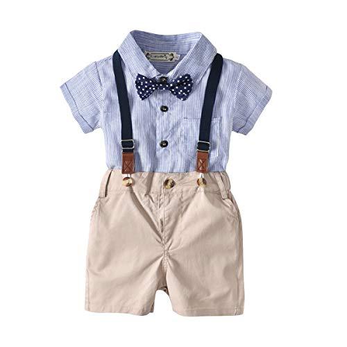 2-Teiliges Kleinkind Jungen Babyanzug Sommer Gentleman Party Taufe Anzug Festlich Hemdbody mit Fliege + Kurze Hose mit Träger Set Outfits 80cm