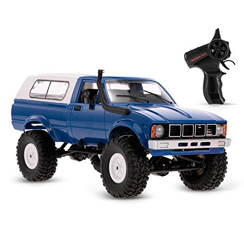 GoolRC RC Truck, 1/16 Scale 4WD 2.4GHz Remote Control Car, RC Off-Road Crawler Truck Vehicles with Headlight for Kids Adults (Blue)