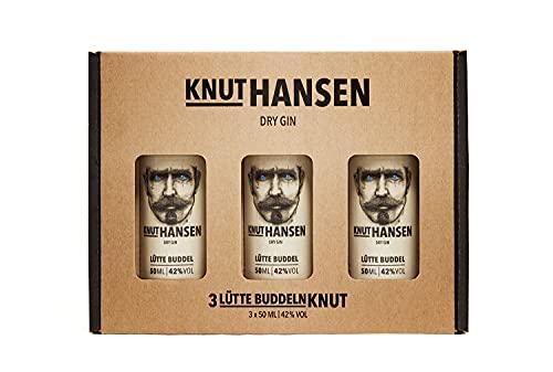 Set KNUT HANSEN DRY GIN 3 x 50 ml – handcrafted Gin nach klassisch nordischer Art, mit Wacholder, Gurke, Basilikum und Apfel, in Keramik-Flasche