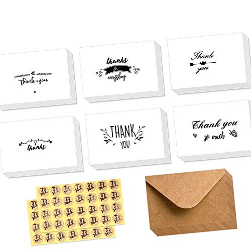 Ohuhu Assorted Thank You Cards, 48 Pack Thank U Greeting Cards Folded Thank You Note Cards of 6 Designs W/48 Brown Kraft Paper Envelopes for Wedding, Graduation, Baby Shower