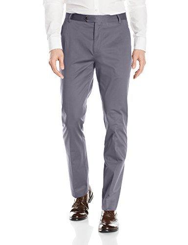 Ben Sherman Men's Flat Front Tapered Stretch Cotton Dress Pants, Charcoal, 34W x 32L