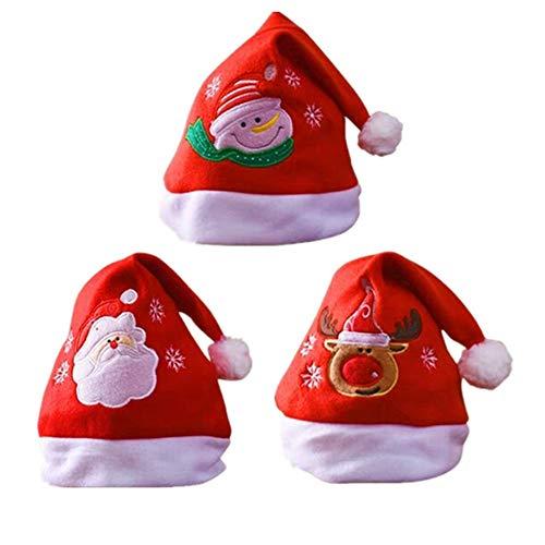 Sombrero de Santa,Gorro Navideno Adultos Ninos Gorro de Navidad Gorro de Papa Noel Reno de Papa Noel