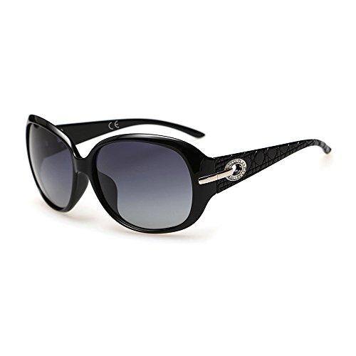 VeBrellen Classici Occhiali da Sole Polarizzati Oversize UV400 Per donne e uomini (Black)