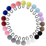 Topbuti 24 Pieces Pom Pom Hair Ties Pom Ball Elastic Hair Ties Cute Pompom Hair Bands Colorful Fur Ball Seamless Hair Ropes Ponytail Holders