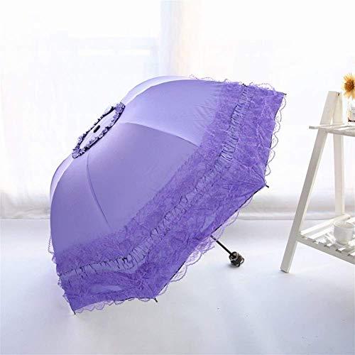 FFSM Princesa Paraguas del cordón del Vinilo de la sombrilla de protección Solar Anti-Ultravioleta Paraguas de Sol Fresca pequeña Linda de Tres Veces el Paraguas de Sun (Color: 1) plm46 (Color : 4)