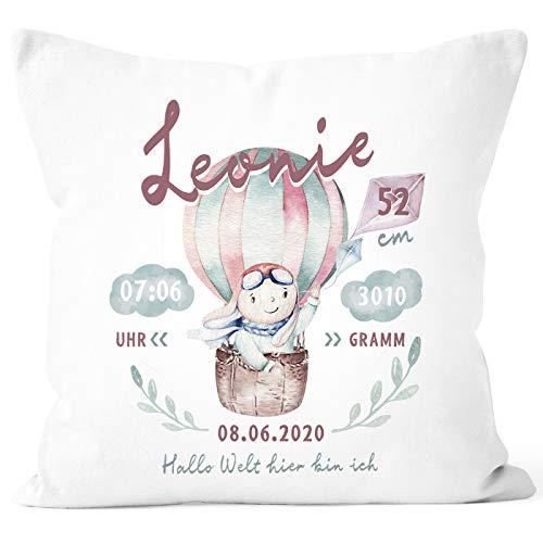SpecialMe® personalisierbares Kissen zur Geburt Hase Heißluftballon Geburtskissen mit Name Geschenk Geburt Baby Mädchen weiß 40cm x 40cm