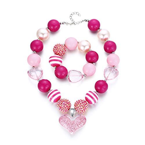Andober Cute Heart Chunky Pink Beads Necklace and Bracelet Set for Little Girls Gifts Princess Holiday Party Costume Decorations with Card & Velvet Bag