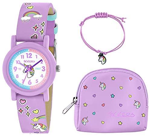 Tikkers Conjunto de reloj, collar y monedero de unicornio lila
