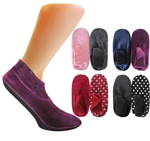 Sockenversandhandel.de Lot de 2 paires de chaussons ultra doux pour femme avec intérieur en fourrure - Semelle caoutchoutée - Noir - 35-38