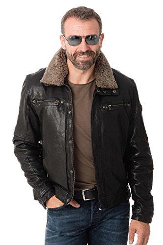 Gipsy Herren Bikerjacke Lederjacke Balton LAWOV W mit Schafsfellkragen Jacket, Schwarz (XL)