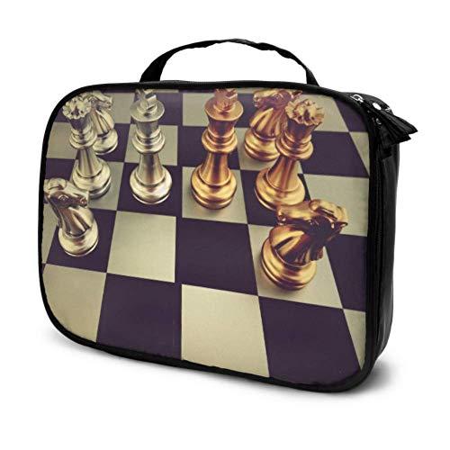 Tablero de ajedrez con Piezas de ajedrez en Negro Maquillaje de Viaje...