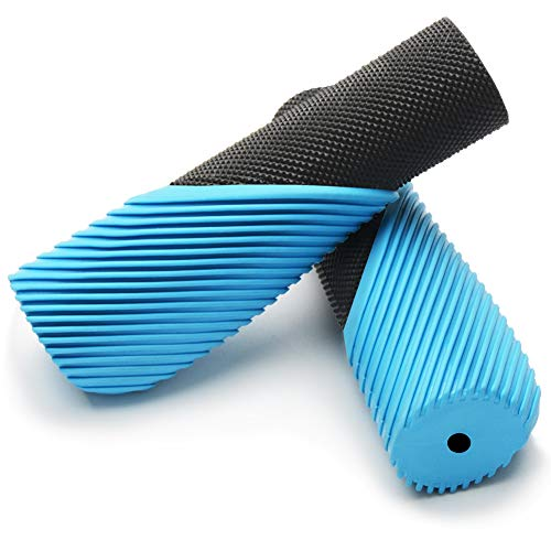 TOPCABIN Bike Grips,Ergonomic Design Two-Color Rubber Bicycle Handlebar Grips Widen Holding Surface Bicycle Grips with Comfortable MTB Bike Handlebar Grips for Road Bike (Light Blue-1 Pair)