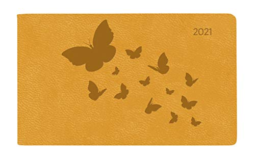 Ladytimer TO GO Deluxe Honey 2021 - Taschen-Kalender 15,3x8,7 cm - Tucson Einband - Motivprägung Schmetterlinge - Weekly - 128 Seiten - Alpha Edition