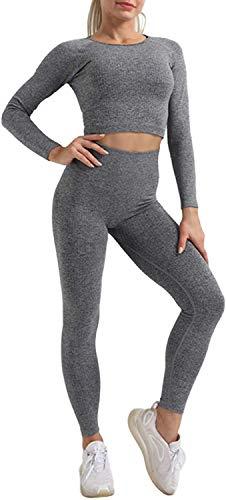 CNASA 2 teiliges Sportswear Fitnessset für Damen Nahtlose Leggings mit hoher Taille und Langarm Stretch BH Yoga Sportswear Set