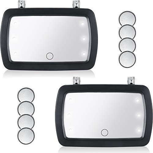 2 Pieces Car Sun Visor Mirror Makeup Sun-Shading Cosmetic Mirror Automobile Makeup Mirror with 8 Pieces Button Battery LED Lights and Touchscreen for Car Truck Automobile Supply