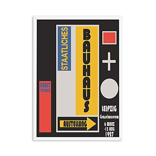 Bauhaus exposición de antigüedades carteles de arte e impresiones imágenes coloridas pinturas de lienzo sin marco retro para el hogar A2 20x30cm