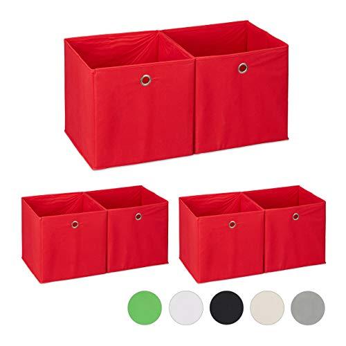 6 x Aufbewahrungsbox Stoff, quadratisch, Aufbewahrung für Regal, Stoffbox in Würfelform, HxBxT: 30 x 30 x 30 cm, rot