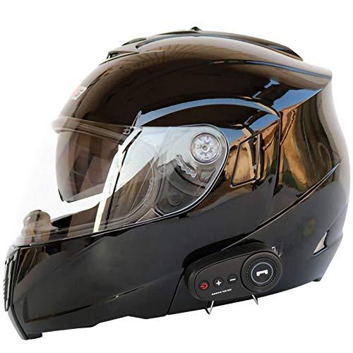 Casco Bluetooth Modular Casco Integral para Adultos Cascos de Motocicleta Choque de Motocicleta Auriculares incorporados Micrófono con visores duales Múltiples Colores Disponibles-E||M