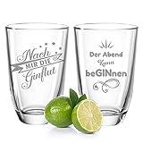 Juego de 2 vasos de ginebra de Leonardo, con texto en alemán'Nach mir die GINflut & Der Abend kann beGINN', regalo para mejor amigo/in, regalo divertido de cumpleaños