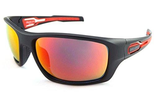 Bloc Phoenix Wrap Sonnenbrille Matt Black with Red Mirror CAT.3 Lenses XR780