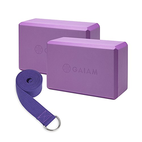 Gaiam Essentials Yoga Block 2 Pack & Yoga Strap Set, Deep Purple, 9'W x 6'H x 4'D