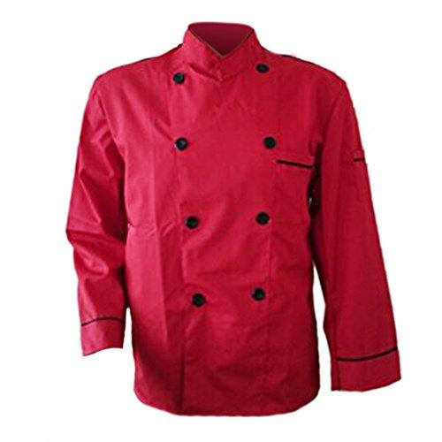 Erwachsene Männer Jungen Baumwolle Arbeitsanzug Arbeitsoveralls Kitchen Koch Kochen Ober Kellner Kellnerin Arbeit Kleidung Anzug Uniform langärmelig rot XL