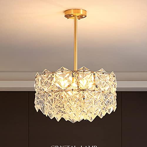 MRDUEWS Candelabro de Cristal Creativo de 16.9 '', luz de Techo de candelabro Circular Transparente, luz de Techo de Montaje Empotrado para Dormitorio, Sala de Estar, Comedor, baño, Pasillo