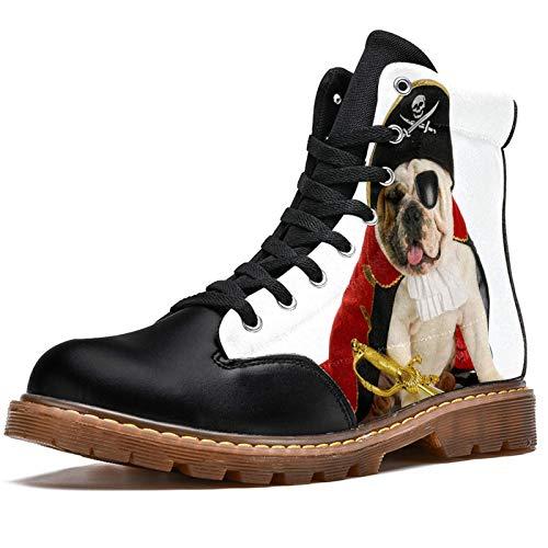 Bennigiry Dogs Pirates Bulldog Uniform Animals Botas de Invierno Zapatos clásicos de Lona de caña Alta para Mujer