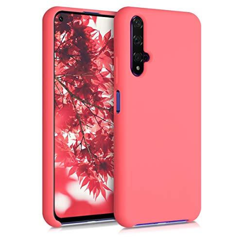 kwmobile Cover Compatibile con Huawei Nova 5T - Cover Custodia in Silicone TPU - Back Case Protezione Cellulare Corallo Fluorescente